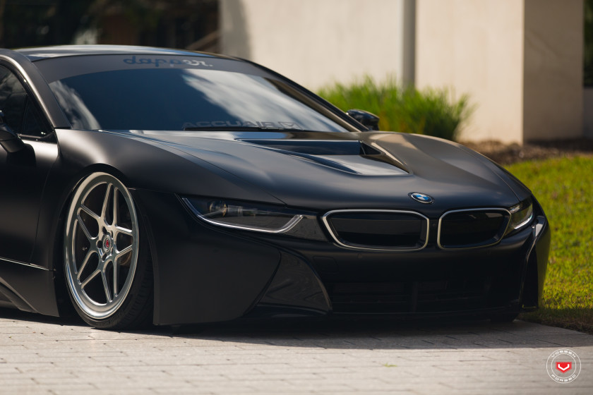 bmw i8 stands on high performance accuair air suspension installation by vossen wheels bmw. Black Bedroom Furniture Sets. Home Design Ideas
