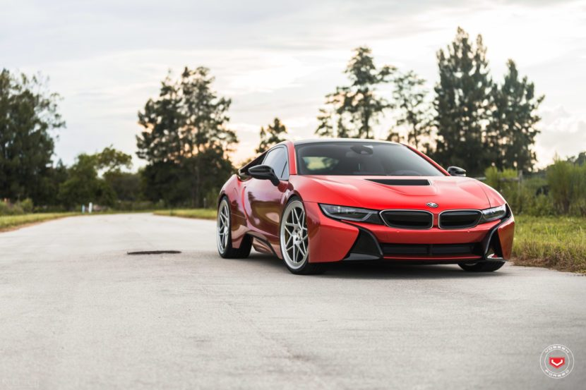 Melbourne Red Bmw I8 With Vossen Wheels Bmw Car Tuning