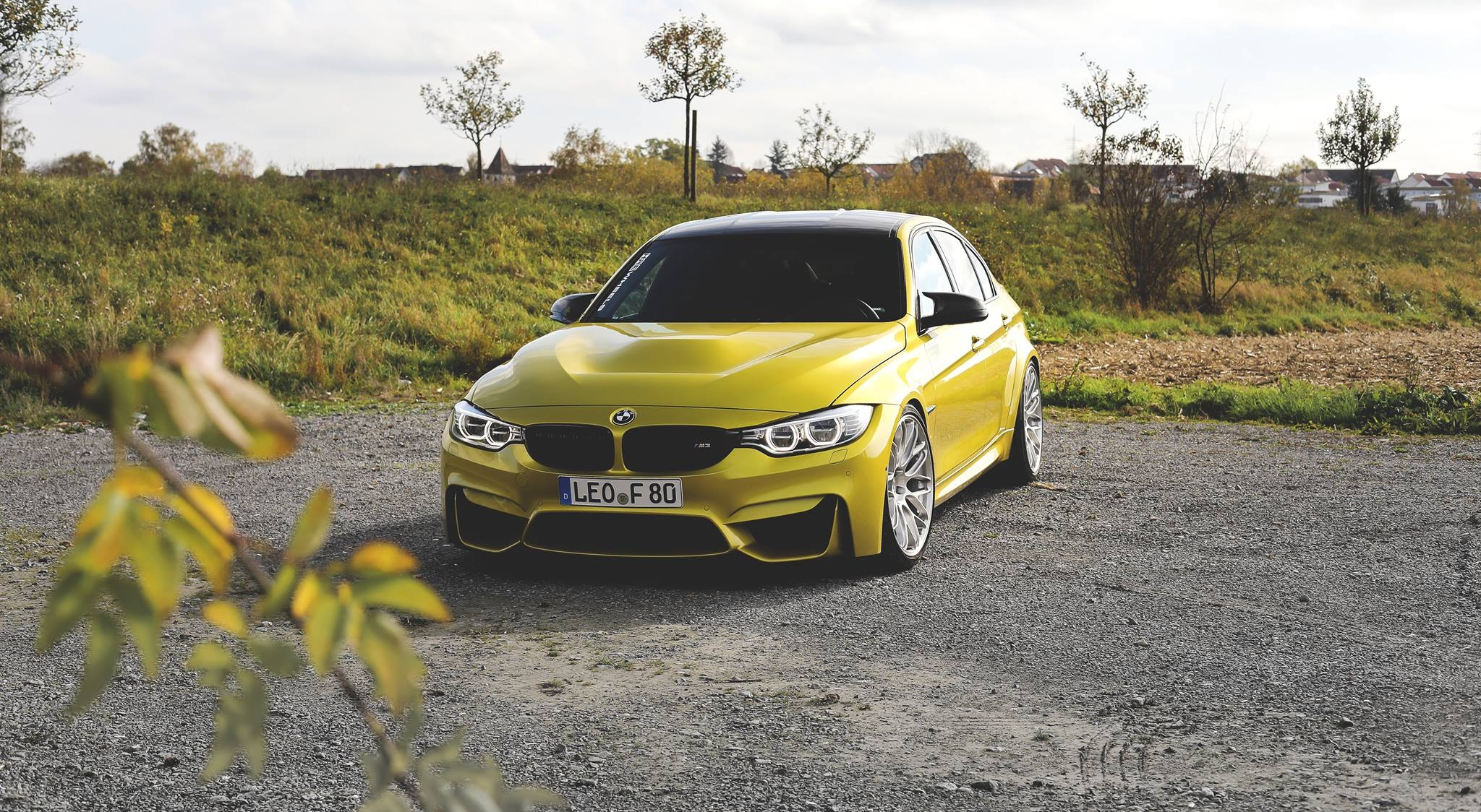 F80 BMW M3 in Austin Yellow and HRE Wheels (1)