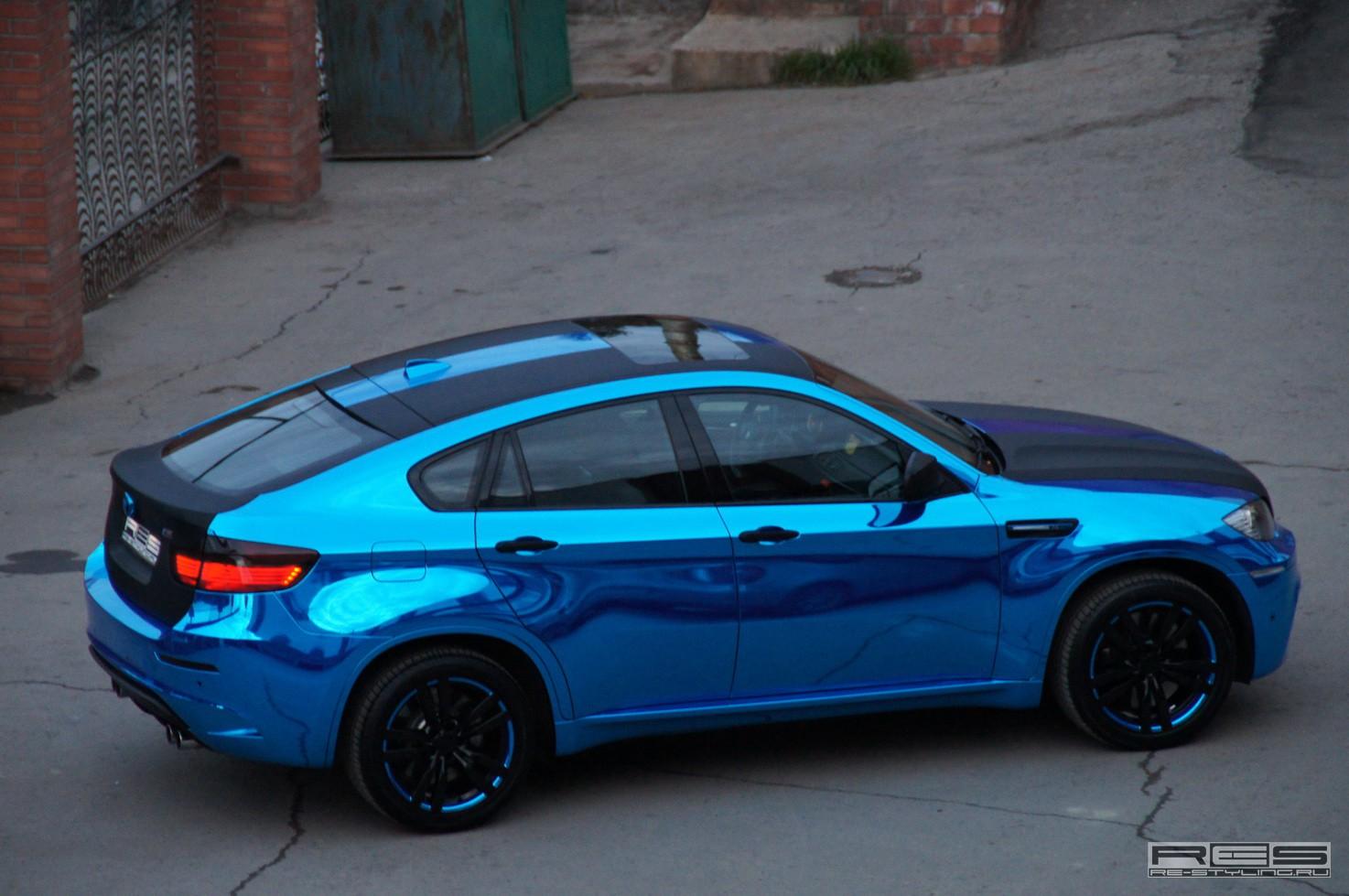Blue Chrome BMW X6 M